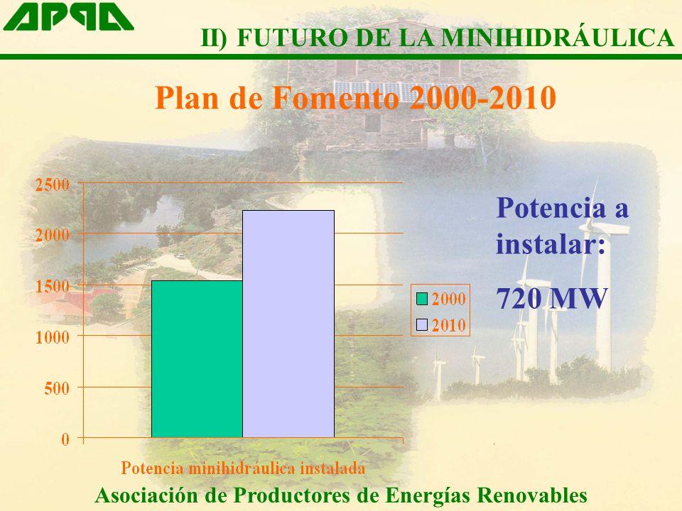 Plan de Fomento 2000-2010 Potencia a instalar: 720 MW Asociación de Productores de Energías Renovables II) FUTURO DE LA MINIHIDRÁULICA