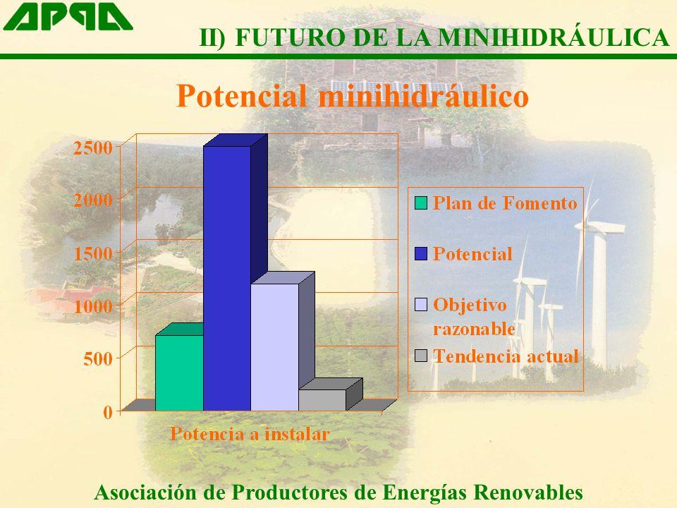 Potencial minihidráulico Asociación de Productores de Energías Renovables II) FUTURO DE LA MINIHIDRÁULICA