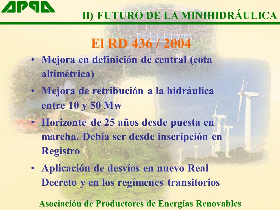 El RD 436 / 2004 Mejora en definición de central (cota altimétrica) Mejora de retribución a la hidráulica entre 10 y 50 Mw Horizonte de 25 años desde