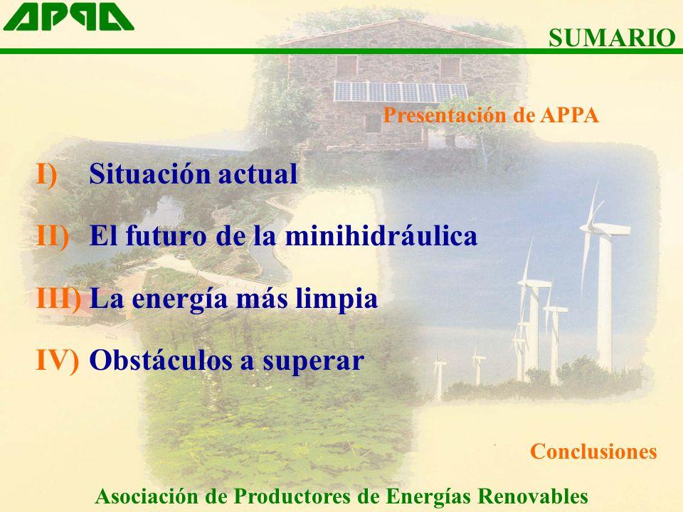I)Situación actual II)El futuro de la minihidráulica III)La energía más limpia IV)Obstáculos a superar Conclusiones SUMARIO Asociación de Productores