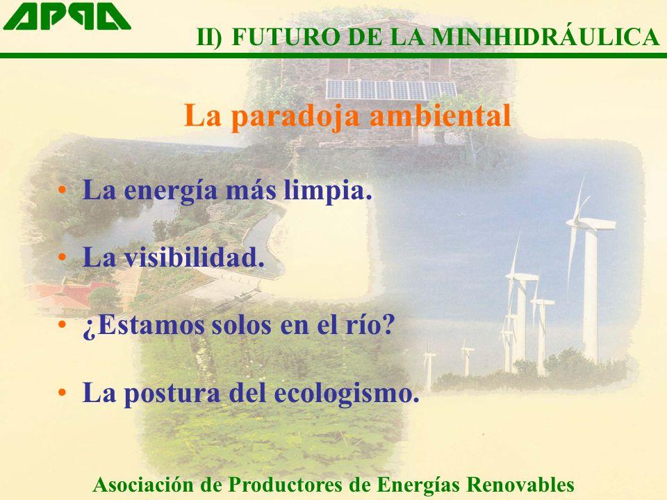 La paradoja ambiental La energía más limpia. La visibilidad. ¿Estamos solos en el río? La postura del ecologismo. Asociación de Productores de Energía