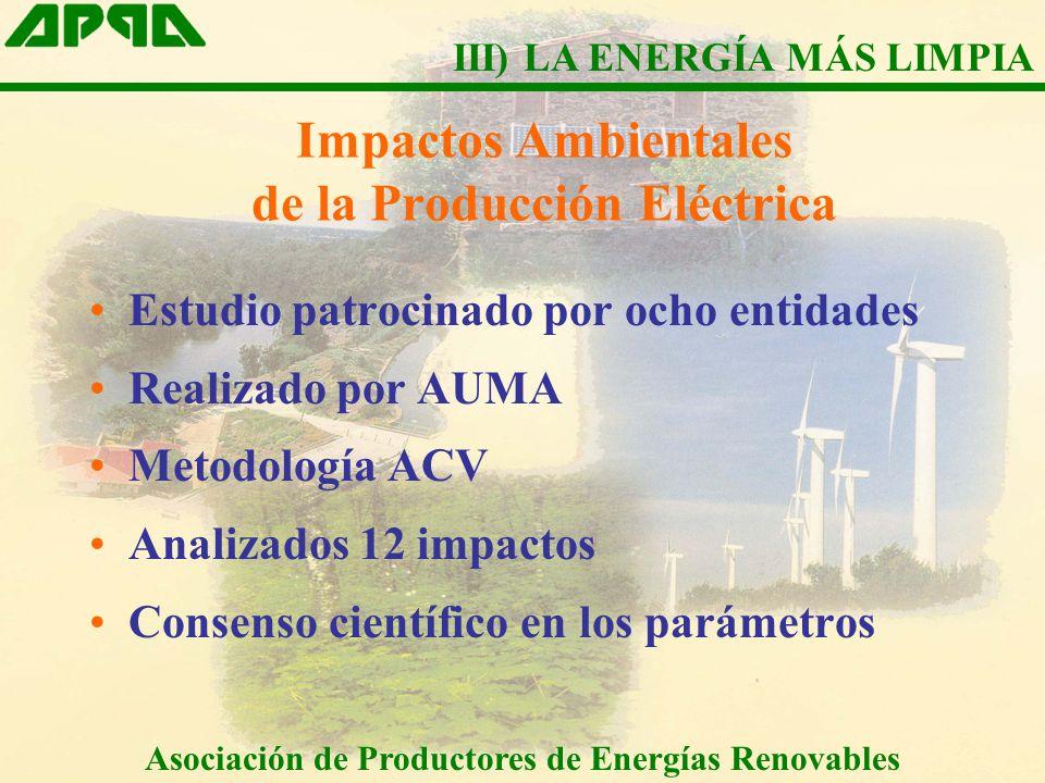 Impactos Ambientales de la Producción Eléctrica Estudio patrocinado por ocho entidades Realizado por AUMA Metodología ACV Analizados 12 impactos Conse