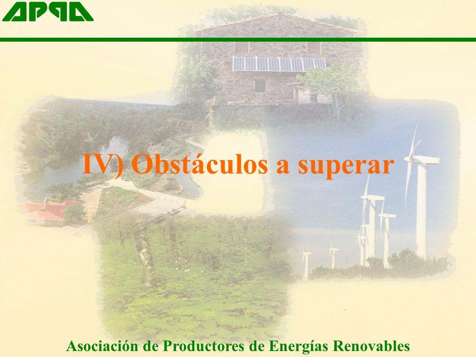 IV) Obstáculos a superar Asociación de Productores de Energías Renovables