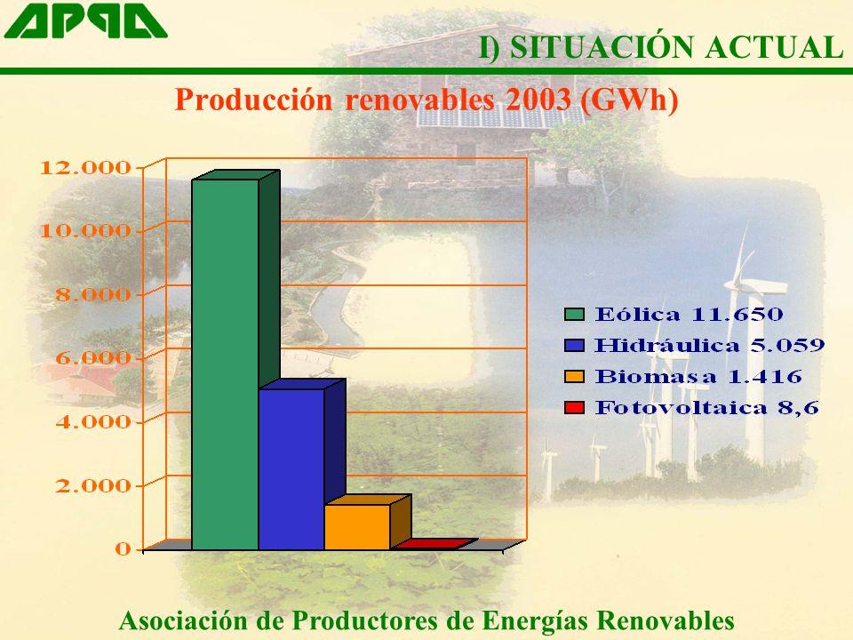 Asociación de Productores de Energías Renovables La energía minihidráulica contaba a 01 01 2004 con una potencia instalada de 1.546 MW (Fuente CNE) La energía minihidráulica ha vertido a la red en el 2003 un total de 5.059 GWh (2,15 %) (Fuente CNE) La energía minihidráulica ha facturado en 2003 252 M (Estimación APPA) I) SITUACIÓN ACTUAL