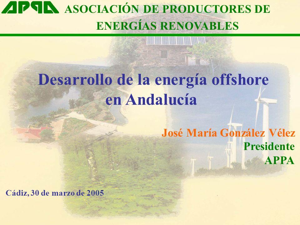Desarrollo de la energía offshore en Andalucía ASOCIACIÓN DE PRODUCTORES DE ENERGÍAS RENOVABLES José María González Vélez Presidente APPA Cádiz, 30 de marzo de 2005
