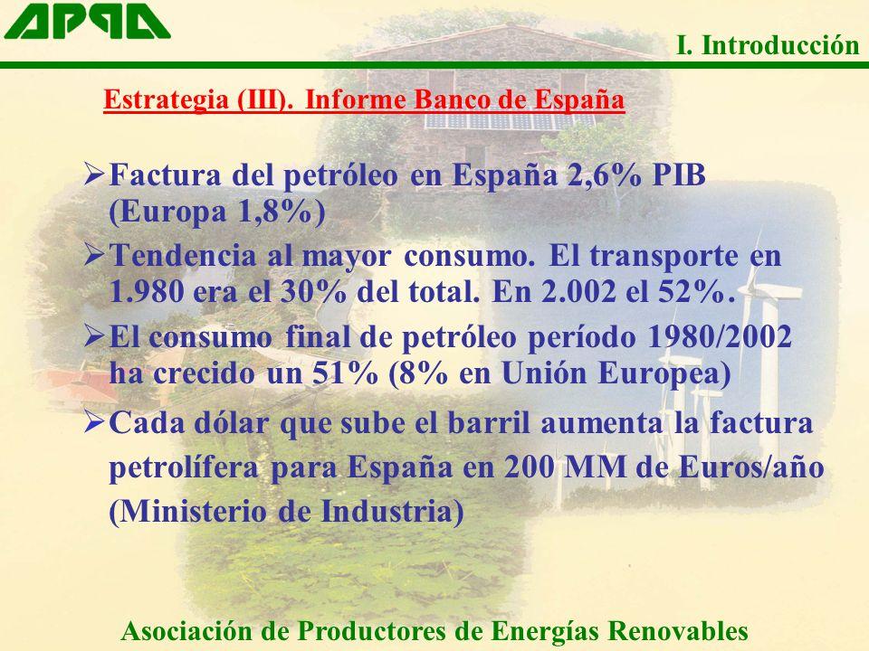 Factura del petróleo en España 2,6% PIB (Europa 1,8%) Tendencia al mayor consumo. El transporte en 1.980 era el 30% del total. En 2.002 el 52%. El con