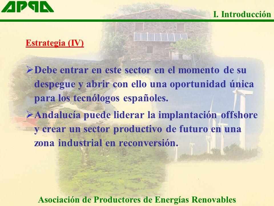 Estrategia (IV) Debe entrar en este sector en el momento de su despegue y abrir con ello una oportunidad única para los tecnólogos españoles. Andalucí