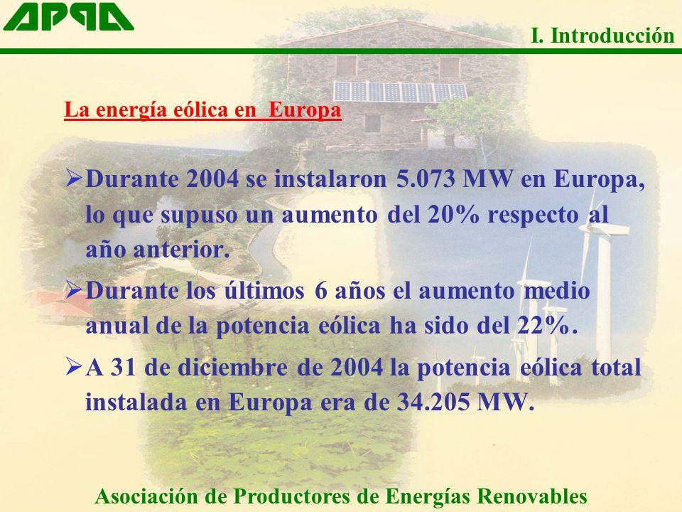 La energía eólica en Europa Durante 2004 se instalaron 5.073 MW en Europa, lo que supuso un aumento del 20% respecto al año anterior. Durante los últi