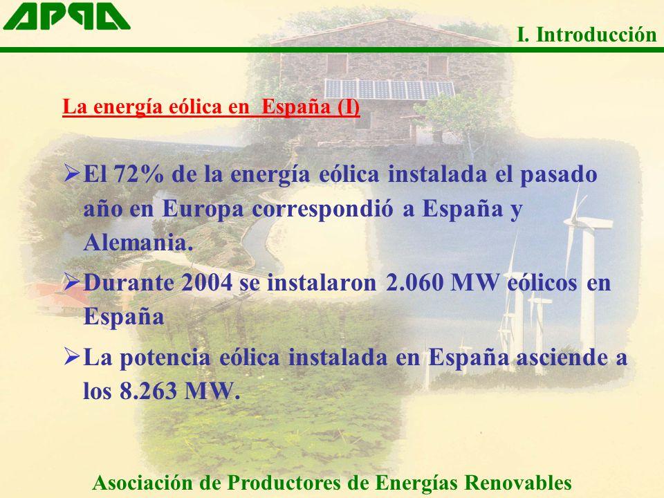 La energía eólica en España (I) El 72% de la energía eólica instalada el pasado año en Europa correspondió a España y Alemania. Durante 2004 se instal
