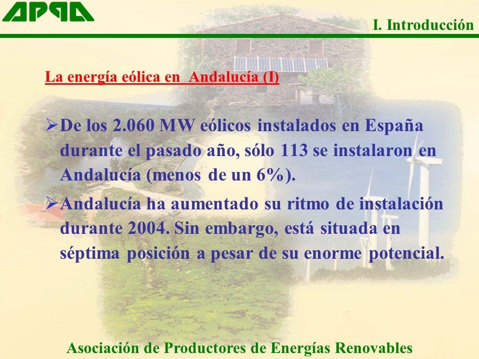 La energía eólica en Andalucía (I) De los 2.060 MW eólicos instalados en España durante el pasado año, sólo 113 se instalaron en Andalucía (menos de u