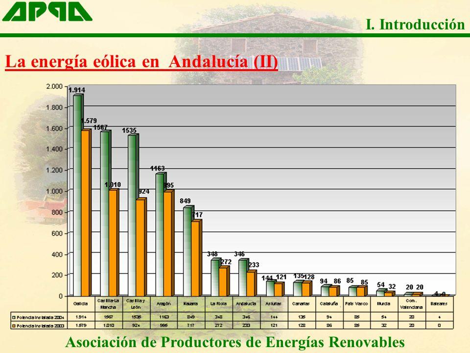 Asociación de Productores de Energías Renovables I. Introducción La energía eólica en Andalucía (II)