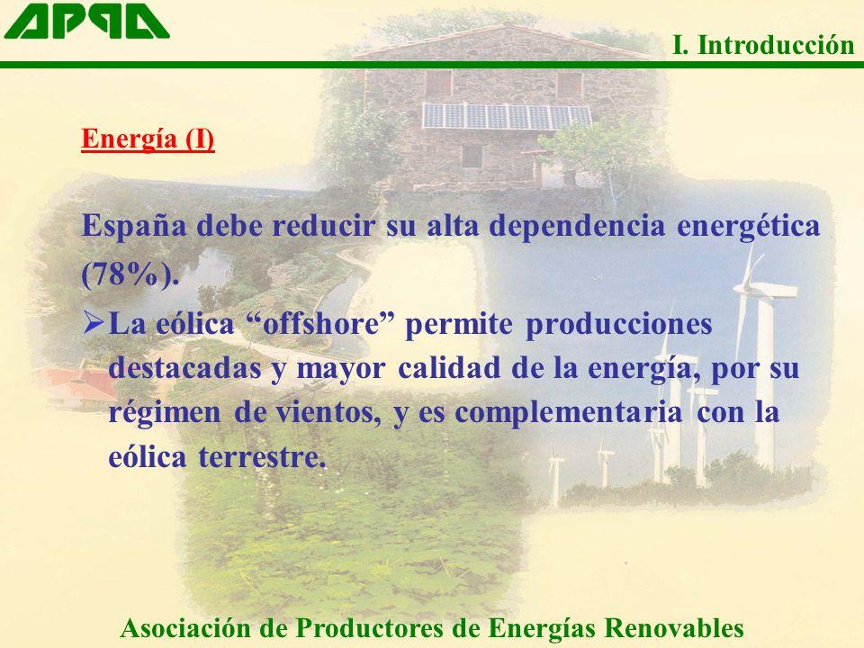 Energía (I) España debe reducir su alta dependencia energética (78%). La eólica offshore permite producciones destacadas y mayor calidad de la energía