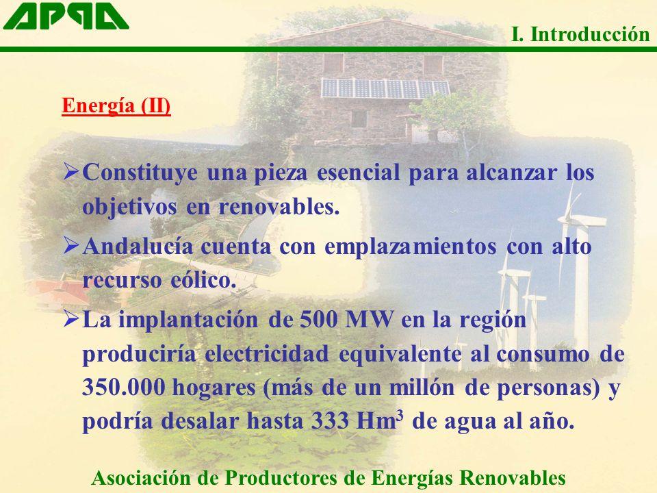 Energía (II) Constituye una pieza esencial para alcanzar los objetivos en renovables. Andalucía cuenta con emplazamientos con alto recurso eólico. La
