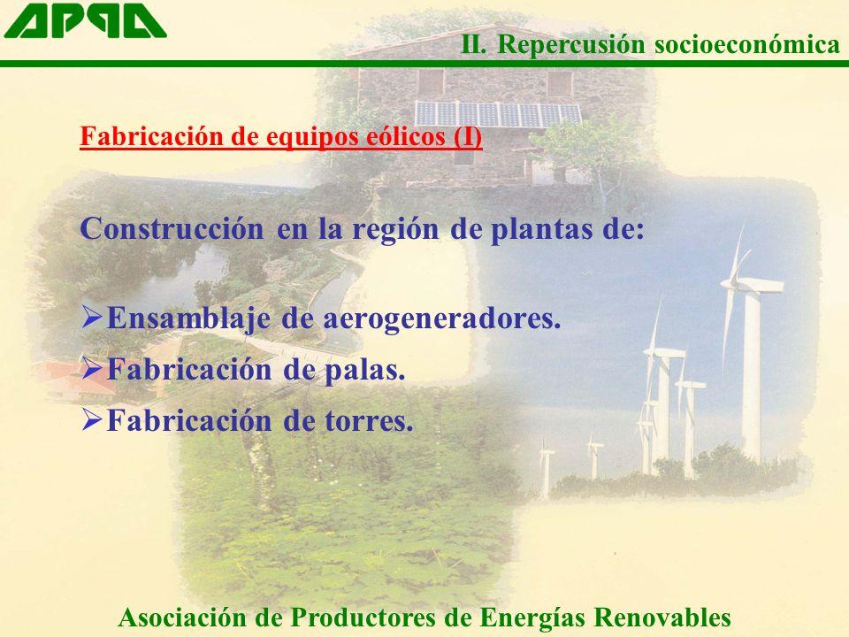 Fabricación de equipos eólicos (I) Construcción en la región de plantas de: Ensamblaje de aerogeneradores. Fabricación de palas. Fabricación de torres