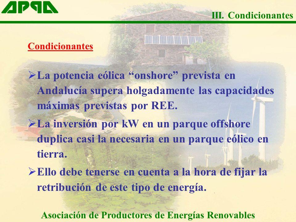 Condicionantes La potencia eólica onshore prevista en Andalucía supera holgadamente las capacidades máximas previstas por REE. La inversión por kW en