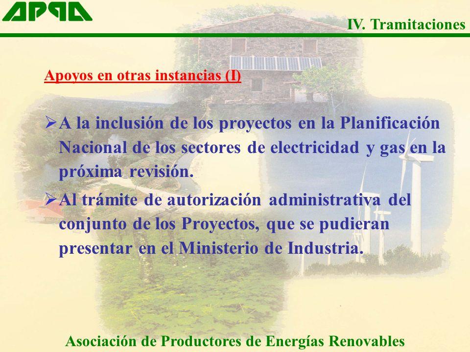 Apoyos en otras instancias (I) A la inclusión de los proyectos en la Planificación Nacional de los sectores de electricidad y gas en la próxima revisión.