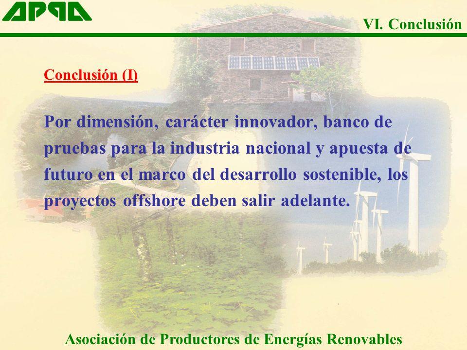 Conclusión (I) Por dimensión, carácter innovador, banco de pruebas para la industria nacional y apuesta de futuro en el marco del desarrollo sostenible, los proyectos offshore deben salir adelante.