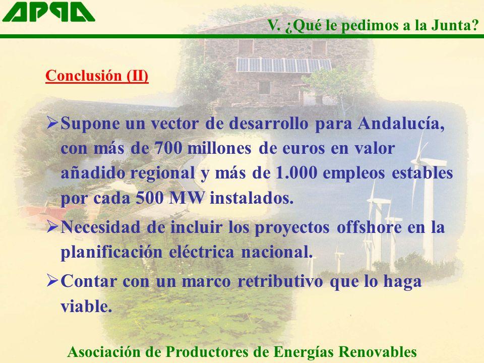 Conclusión (II) Supone un vector de desarrollo para Andalucía, con más de 700 millones de euros en valor añadido regional y más de 1.000 empleos estables por cada 500 MW instalados.