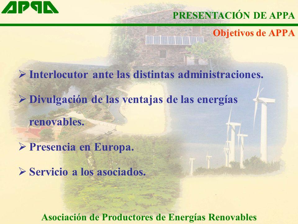 Objetivos de APPA Interlocutor ante las distintas administraciones. Divulgación de las ventajas de las energías renovables. Presencia en Europa. Servi