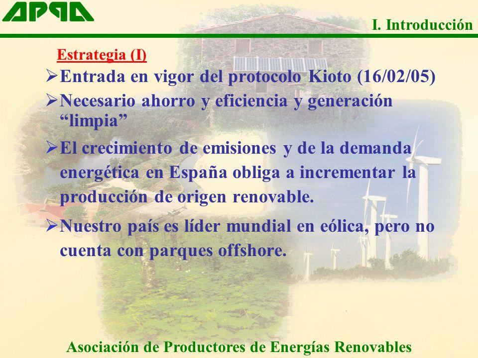 Entrada en vigor del protocolo Kioto (16/02/05) Necesario ahorro y eficiencia y generación limpia El crecimiento de emisiones y de la demanda energéti