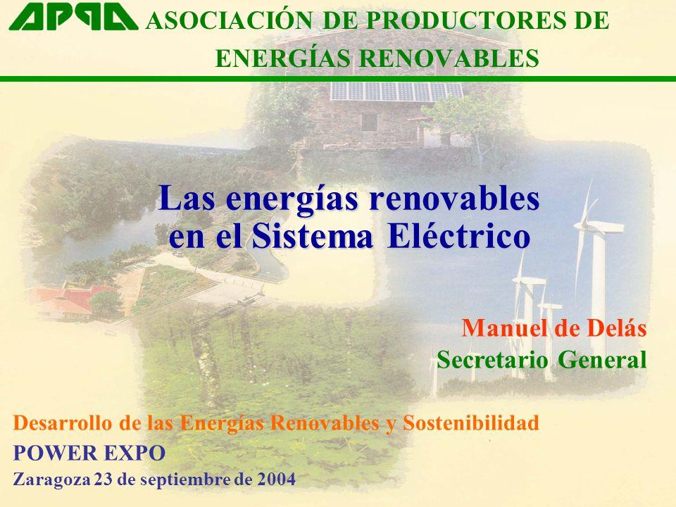 Las energías renovables en el Sistema Eléctrico Manuel de Delás Secretario General ASOCIACIÓN DE PRODUCTORES DE ENERGÍAS RENOVABLES Desarrollo de las Energías Renovables y Sostenibilidad POWER EXPO Zaragoza 23 de septiembre de 2004