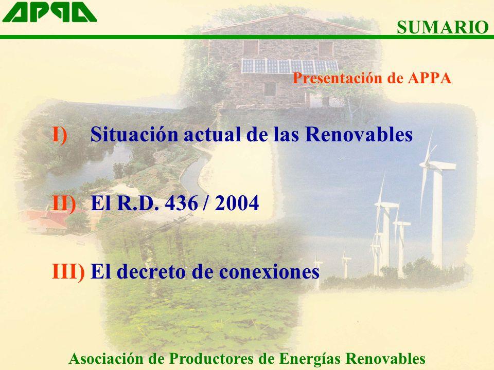 Presentación de APPA I)Situación actual de las Renovables II)El R.D.