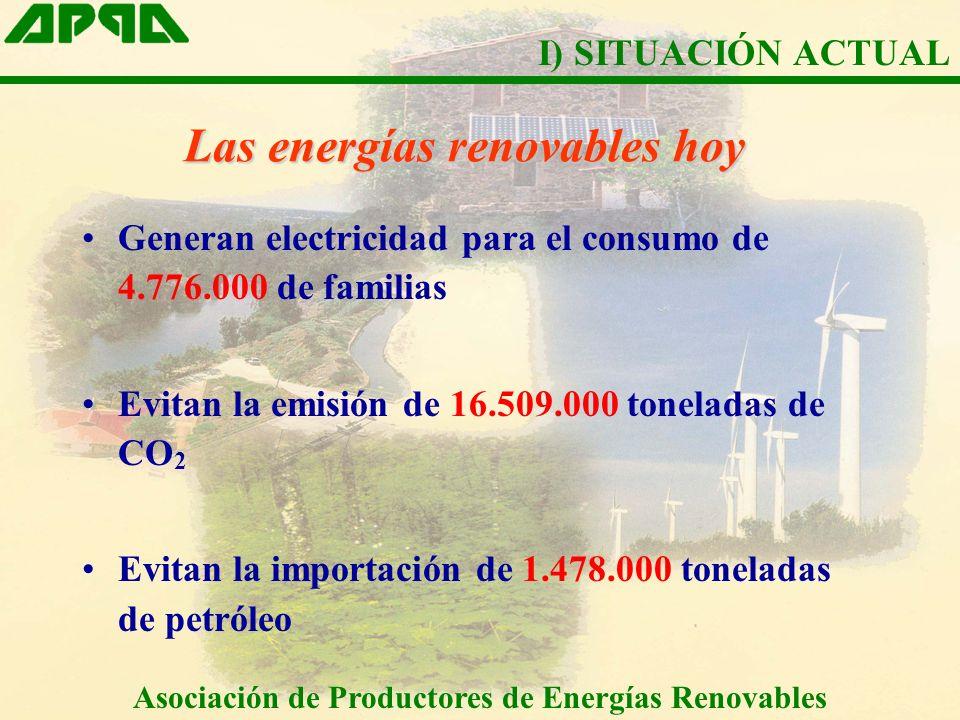 Las energías renovables hoy Generan electricidad para el consumo de 4.776.000 de familias Evitan la emisión de 16.509.000 toneladas de CO 2 Evitan la importación de 1.478.000 toneladas de petróleo Asociación de Productores de Energías Renovables I) SITUACIÓN ACTUAL