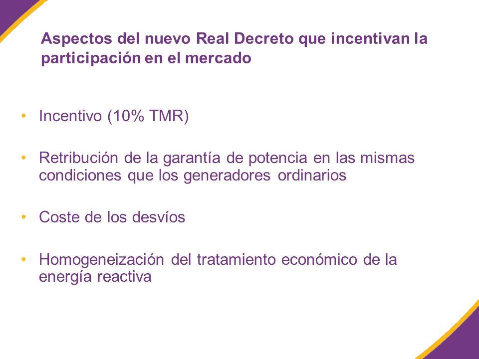 Aspectos del nuevo Real Decreto que incentivan la participación en el mercado Incentivo (10% TMR) Retribución de la garantía de potencia en las mismas condiciones que los generadores ordinarios Coste de los desvíos Homogeneización del tratamiento económico de la energía reactiva