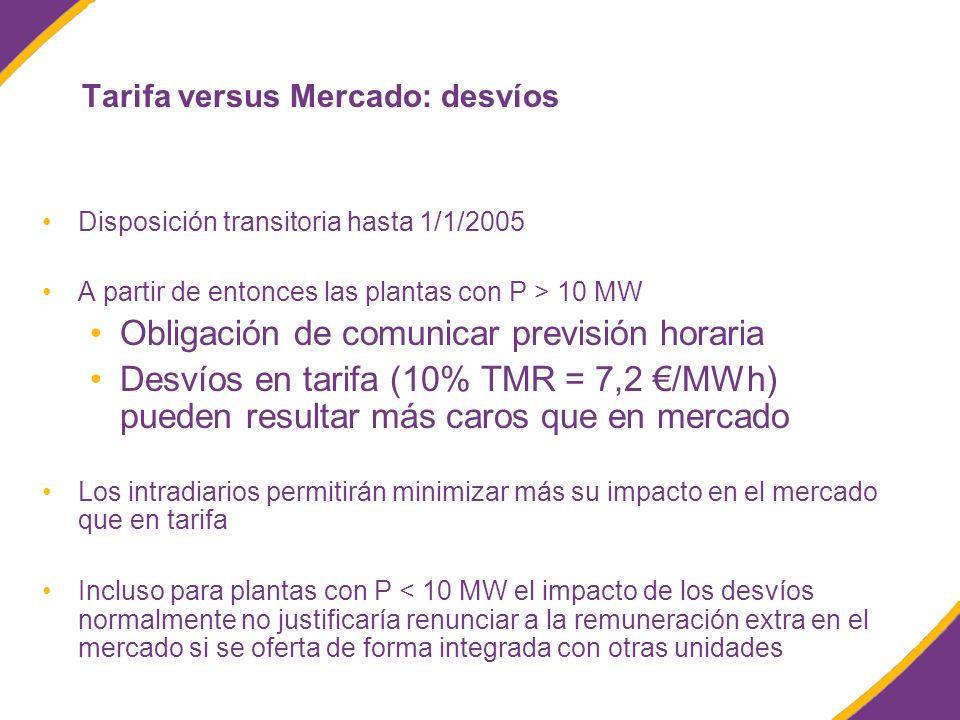 Tarifa versus Mercado: desvíos Disposición transitoria hasta 1/1/2005 A partir de entonces las plantas con P > 10 MW Obligación de comunicar previsión horaria Desvíos en tarifa (10% TMR = 7,2 /MWh) pueden resultar más caros que en mercado Los intradiarios permitirán minimizar más su impacto en el mercado que en tarifa Incluso para plantas con P < 10 MW el impacto de los desvíos normalmente no justificaría renunciar a la remuneración extra en el mercado si se oferta de forma integrada con otras unidades