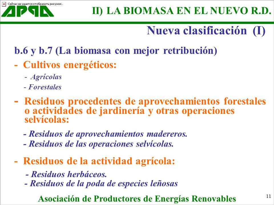 11 b.6 y b.7 (La biomasa con mejor retribución) - Cultivos energéticos: - Agrícolas - Forestales - Residuos procedentes de aprovechamientos forestales