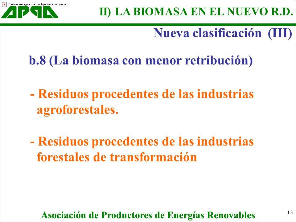 13 b.8 (La biomasa con menor retribución) - Residuos procedentes de las industrias agroforestales. - Residuos procedentes de las industrias forestales