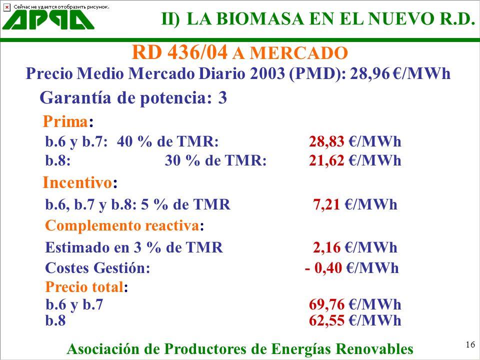 16 RD 436/04 A MERCADO Precio Medio Mercado Diario 2003 (PMD): 28,96 /MWh Garantía de potencia: 3 Prima: b.6 y b.7: 40 % de TMR:28,83 /MWh b.8:30 % de