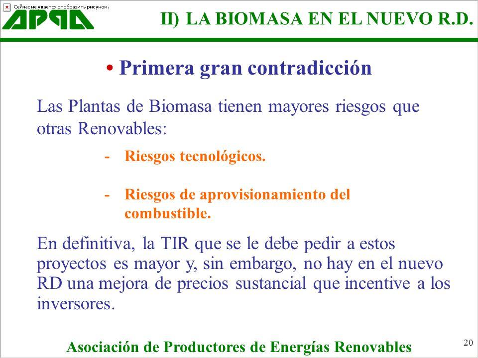20 Primera gran contradicción Las Plantas de Biomasa tienen mayores riesgos que otras Renovables: - Riesgos tecnológicos. - Riesgos de aprovisionamien