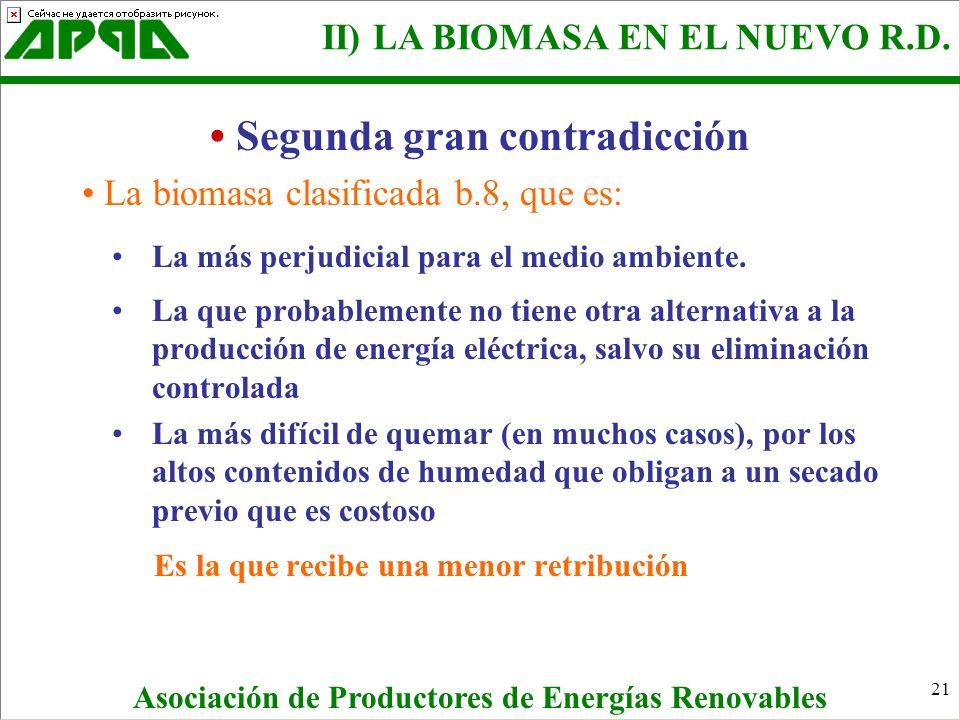 21 La biomasa clasificada b.8, que es: La más perjudicial para el medio ambiente. La que probablemente no tiene otra alternativa a la producción de en