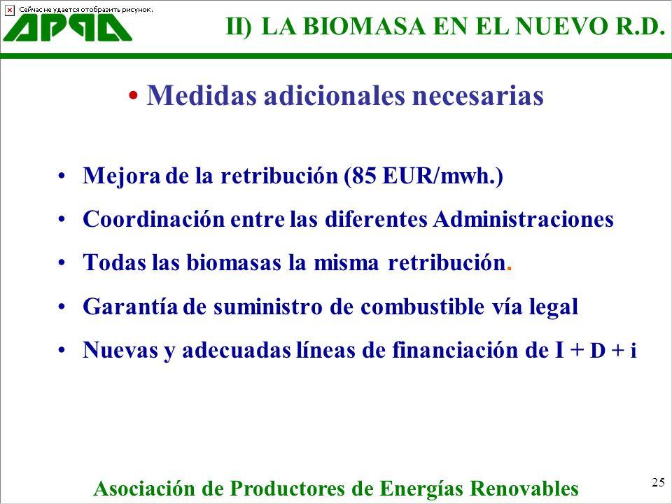 25 Mejora de la retribución (85 EUR/mwh.) Coordinación entre las diferentes Administraciones Todas las biomasas la misma retribución. Garantía de sumi