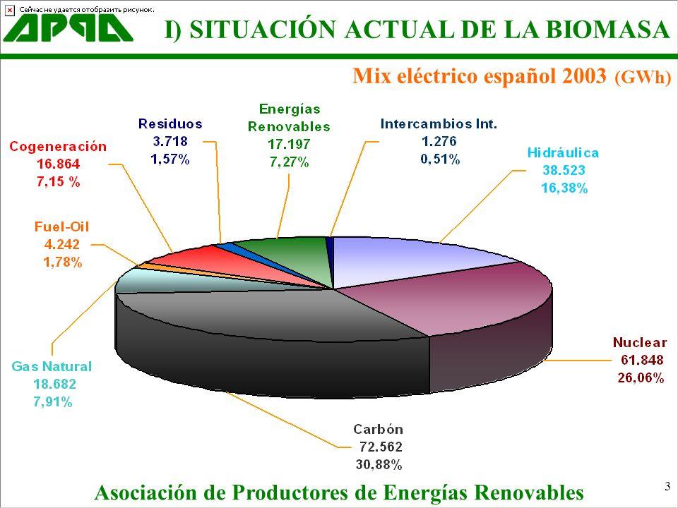 4 Producción renovables 2003 (GWh) Asociación de Productores de Energías Renovables I) SITUACIÓN ACTUAL DE LA BIOMASA