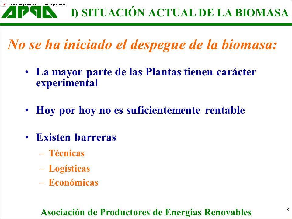 8 No se ha iniciado el despegue de la biomasa: La mayor parte de las Plantas tienen carácter experimental Hoy por hoy no es suficientemente rentable E