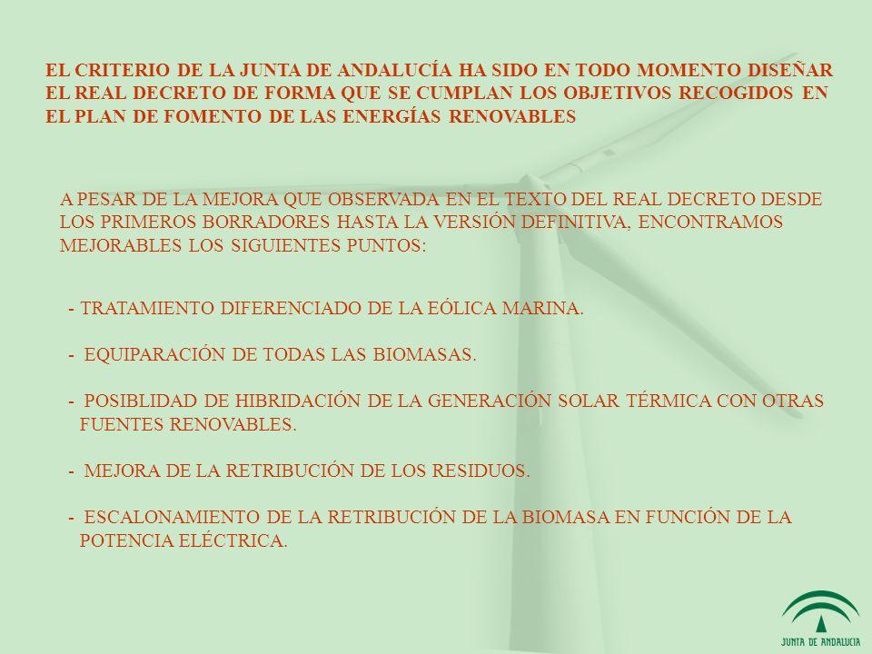 EL CRITERIO DE LA JUNTA DE ANDALUCÍA HA SIDO EN TODO MOMENTO DISEÑAR EL REAL DECRETO DE FORMA QUE SE CUMPLAN LOS OBJETIVOS RECOGIDOS EN EL PLAN DE FOMENTO DE LAS ENERGÍAS RENOVABLES A PESAR DE LA MEJORA QUE OBSERVADA EN EL TEXTO DEL REAL DECRETO DESDE LOS PRIMEROS BORRADORES HASTA LA VERSIÓN DEFINITIVA, ENCONTRAMOS MEJORABLES LOS SIGUIENTES PUNTOS: -TRATAMIENTO DIFERENCIADO DE LA EÓLICA MARINA.