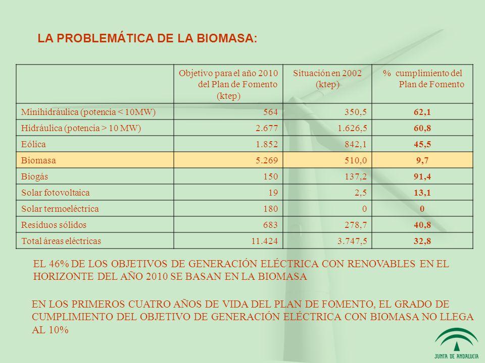 Objetivo para el año 2010 del Plan de Fomento (ktep) Situación en 2002 (ktep) % cumplimiento del Plan de Fomento Minihidráulica (potencia < 10MW)564350,562,1 Hidráulica (potencia > 10 MW)2.6771.626,560,8 Eólica1.852842,145,5 Biomasa5.269510,09,7 Biogás150137,291,4 Solar fotovoltaica192,513,1 Solar termoeléctrica18000 Residuos sólidos683278,740,8 Total áreas eléctricas11.4243.747,532,8 EL 46% DE LOS OBJETIVOS DE GENERACIÓN ELÉCTRICA CON RENOVABLES EN EL HORIZONTE DEL AÑO 2010 SE BASAN EN LA BIOMASA EN LOS PRIMEROS CUATRO AÑOS DE VIDA DEL PLAN DE FOMENTO, EL GRADO DE CUMPLIMIENTO DEL OBJETIVO DE GENERACIÓN ELÉCTRICA CON BIOMASA NO LLEGA AL 10% LA PROBLEMÁTICA DE LA BIOMASA: