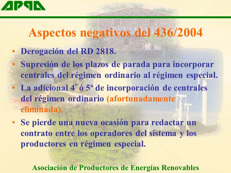 Aspectos negativos del 436/2004 Derogación del RD 2818.