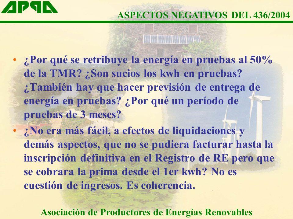 ¿Por qué se retribuye la energía en pruebas al 50% de la TMR.
