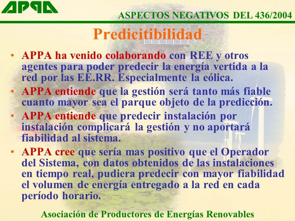 APPA ha venido colaborando con REE y otros agentes para poder predecir la energía vertida a la red por las EE.RR.