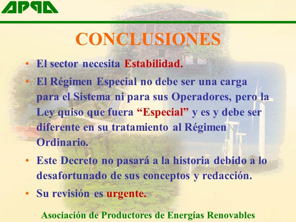 CONCLUSIONES El sector necesita Estabilidad.
