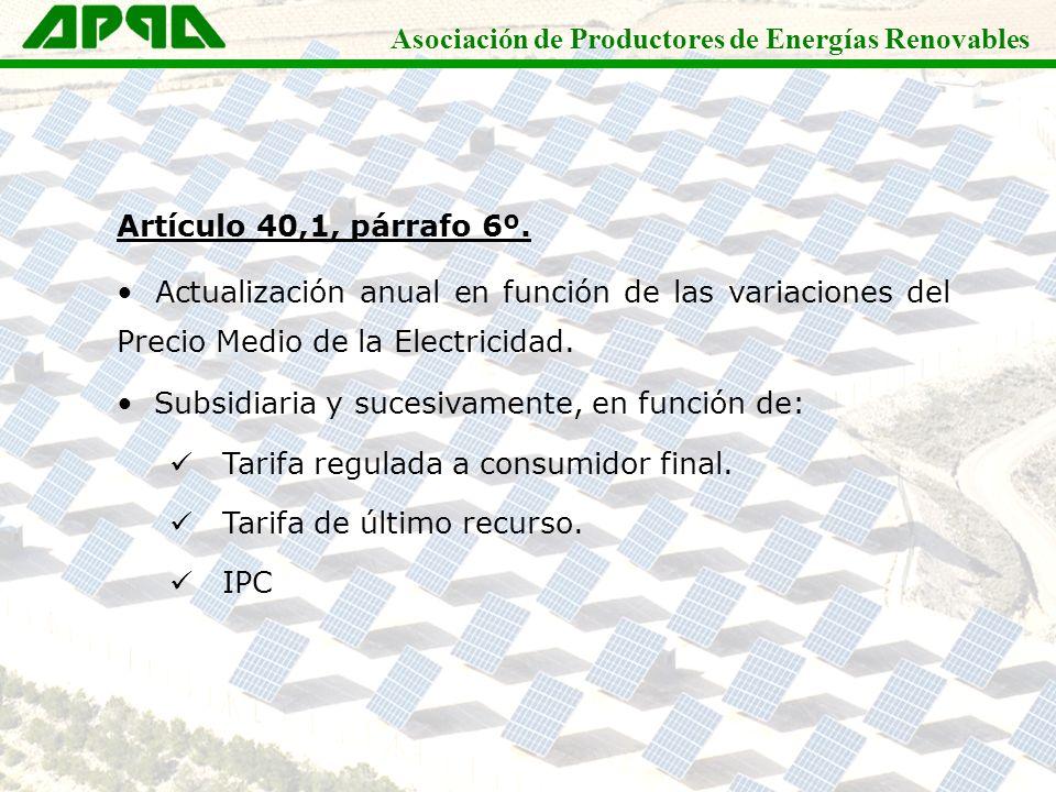 Asociación de Productores de Energías Renovables Artículo 40,1, párrafo 6º. Actualización anual en función de las variaciones del Precio Medio de la E