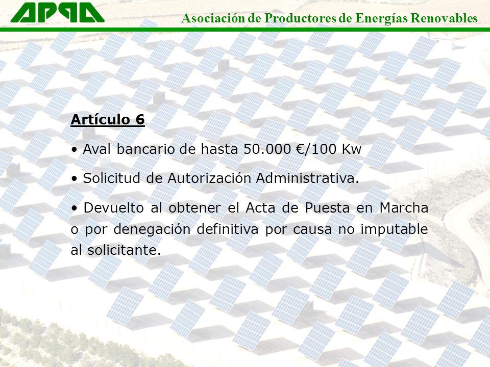 Asociación de Productores de Energías Renovables Artículo 6 Aval bancario de hasta 50.000 /100 Kw Solicitud de Autorización Administrativa. Devuelto a