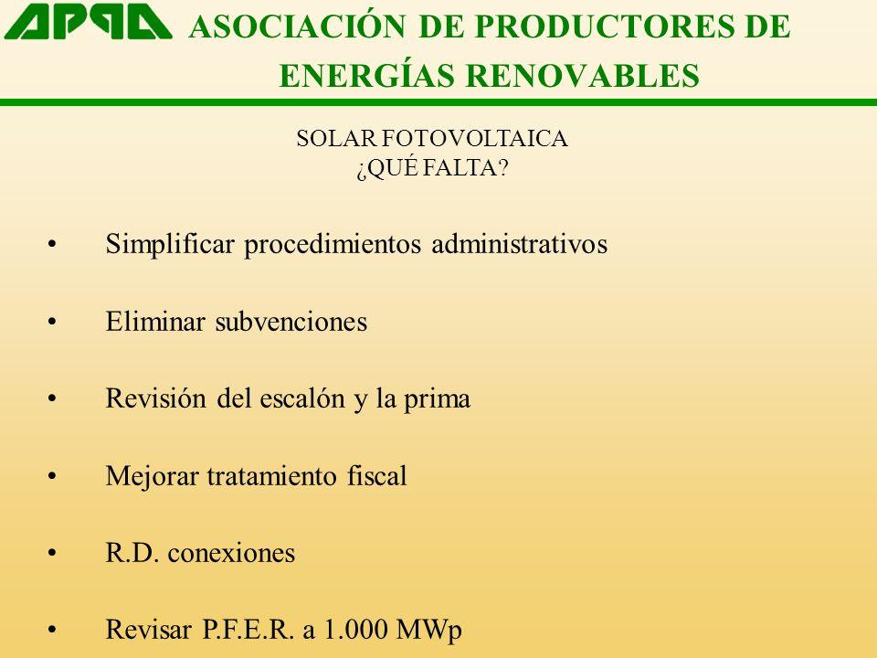 ASOCIACIÓN DE PRODUCTORES DE ENERGÍAS RENOVABLES SOLAR FOTOVOLTAICA ¿QUÉ FALTA? Simplificar procedimientos administrativos Eliminar subvenciones Revis