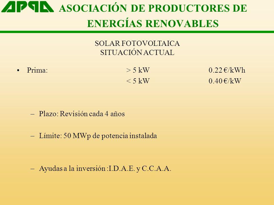 ASOCIACIÓN DE PRODUCTORES DE ENERGÍAS RENOVABLES SOLAR FOTOVOLTAICA SITUACIÓN ACTUAL Prima: > 5 kW0.22 /kWh < 5 kW0.40 /kW –Plazo: Revisión cada 4 años –Límite: 50 MWp de potencia instalada –Ayudas a la inversión :I.D.A.E.