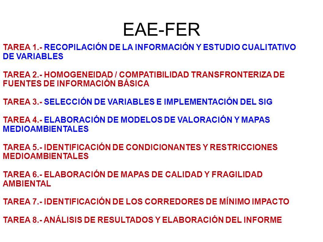 EAE-FER TAREA 1.- RECOPILACIÓN DE LA INFORMACIÓN Y ESTUDIO CUALITATIVO DE VARIABLES TAREA 2.- HOMOGENEIDAD / COMPATIBILIDAD TRANSFRONTERIZA DE FUENTES DE INFORMACIÓN BÁSICA TAREA 3.- SELECCIÓN DE VARIABLES E IMPLEMENTACIÓN DEL SIG TAREA 4.- ELABORACIÓN DE MODELOS DE VALORACIÓN Y MAPAS MEDIOAMBIENTALES TAREA 5.- IDENTIFICACIÓN DE CONDICIONANTES Y RESTRICCIONES MEDIOAMBIENTALES TAREA 6.- ELABORACIÓN DE MAPAS DE CALIDAD Y FRAGILIDAD AMBIENTAL TAREA 7.- IDENTIFICACIÓN DE LOS CORREDORES DE MÍNIMO IMPACTO TAREA 8.- ANÁLISIS DE RESULTADOS Y ELABORACIÓN DEL INFORME