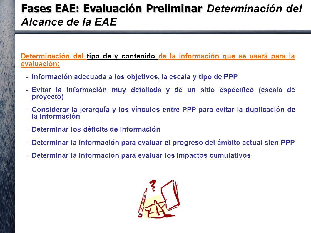 Fases EAE: Evaluación Preliminar Fases EAE: Evaluación Preliminar Determinación del Alcance de la EAE Determinación del tipo de y contenido de la información que se usará para la evaluación: -Información adecuada a los objetivos, la escala y tipo de PPP -Evitar la información muy detallada y de un sitio específico (escala de proyecto) -Considerar la jerarquía y los vínculos entre PPP para evitar la duplicación de la información -Determinar los déficits de información -Determinar la información para evaluar el progreso del ámbito actual sien PPP -Determinar la información para evaluar los impactos cumulativos