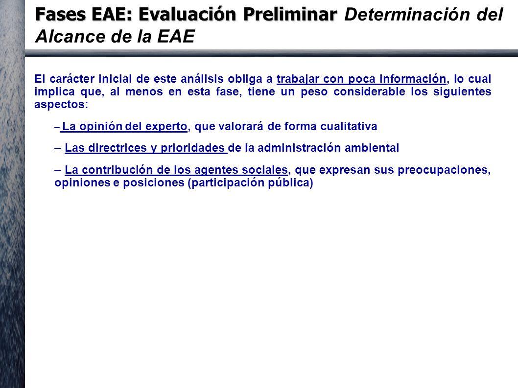 Fases EAE: Evaluación Preliminar Fases EAE: Evaluación Preliminar Determinación del Alcance de la EAE El carácter inicial de este análisis obliga a tr